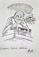 Unikat Mooseart Gemälde Zeichnung Skizze Tusche figürlich ca14,5x20,5cm Original