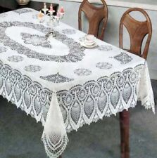 "Vinyl PVC wipe away White Embossed Crochet Lace type tablecloth cover 60"" X 90"""