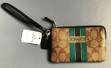 AUTHENTIC Coach Varsity Khaki Midnight Corner Zip Wallet Wrislet