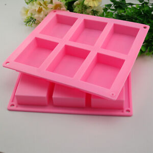 6 Cavity Silicone Soap Brownie Cake Bar Fudge Flapjack Mould Tray Bake Candle