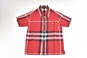 "BURBERRY Children: Red ""Nova Check"" & Logo Short Sleeve Shirt Sz: 6 Years"