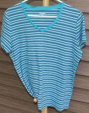 Woman's Blue Striped T-Shirt by St. John's Bay; Size:  L