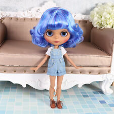 """12"""" Blythe factory Nude Doll Blue Mix Hair Jointed Body Black Skin Matte Face"""