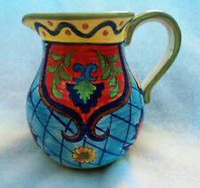 Maxcera Orange Talavera Beverage Pitcher 2.5 Quarts (80 Oz) Blue Yellow Green