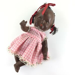 """Vintage Black African American 9"""" Baby Doll Composition Jointed Unmarked Topsy"""