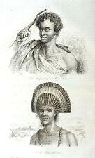 TONGA  ISLANDS - CUSTOMS - NATIVES - Original 1835 Antique Prints set of 16