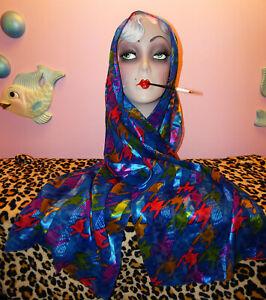 Vintage Blue & Pink Houndstooth Scarf pinup retro head wrap neck scarve 1980's