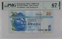 Hong Kong 20 Dollars HSBC 2009 P 207 f Superb GEM UNC PMG 67 EPQ