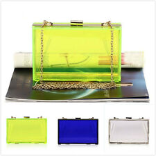 TRIXES Ladies Acrylic Jelly Clutch Purse Shoulder Bag Envelope Chain Clasp
