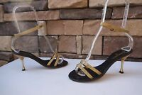vintage CHANEL Ankle Strap Sandals with Studs Chanel Logo SZ US 6.5-7 / IT 37
