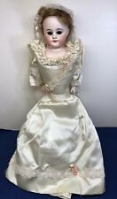 "20"" Antique Porcelain Bride Doll With Cloth Body Missing Eyes Wedding Dress"