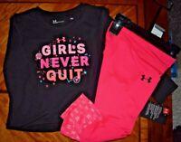 New Girls Black/Pink Under Armor 2pc legging set size 18 months