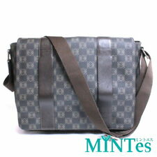 Auth Loewe Messenger Bag 301.84.007 Dark Brown Nylon Canvas Shoulder Bag Brown B