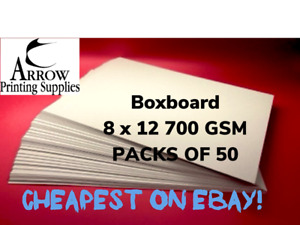 Boxboard 8 x 12 inch 700GSM 1.2mm thick Backing Boards Recycled  - Pack of 50