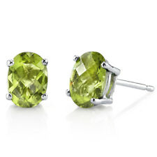 14K  14ct White Gold 1.5 Carats Peridot Stud Earrings Oval Cut 7x5 mm