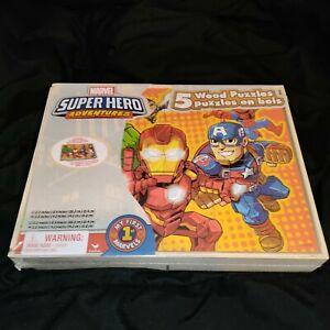 Marvel Super Hero Adventures 5 Wood Puzzles Storage Box Spider Man Hulk Iron Man