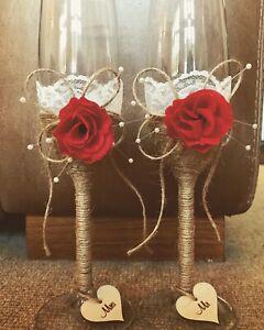 Luxury Handmade Mr & Mrs Wedding Champagne Flutes/Glasses Set - Rustic