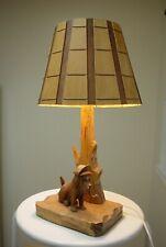 Vintage Wood Carved Table Lamp