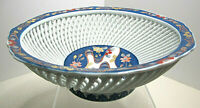 Lovely Japanese Hirado Mikawachi Porcelain Footed Bowl w/Lattice~Signed~Unusual