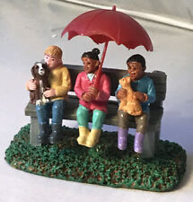 Lemax Village Accessory ~ 3 Kids on Bench ~ Rainy Day With Friends ~ NEW NO BOX