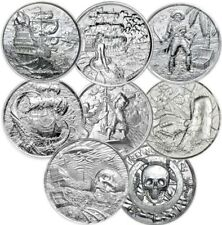 Complete collection of all 7 Ultra High Relief  2 OZ Privateer Silver Round