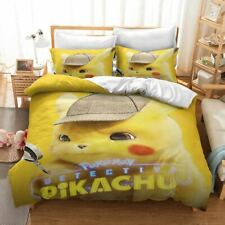 Pokemon Detective Pikachu Single/Double/Queen/King Bed Quilt Cover Set
