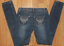 FOREVER 21 SIZE 25 EMBELLISHED COMFY STRETCHY LOW RISE WOMENS  BLUE JEANS