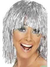 Short Silver Straight Wig, Cyber Tinsel Wig 1980's Fancy Dress #AU