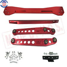RED Rear Lower Control Arm + Subframe Brace + Tie Bar For 96-00 Honda Civic EK