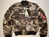 Alpha Industries MA-1 Slim Fit Men Flight Bomber Jacket Tonal Black Camo Size S