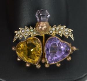 Victorian Scottish 9ct Rose Gold Heart Amethyst & Citrine Thistle Brooch