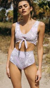 New Free People Montce Lilac Paisley Bikini Small B-1085