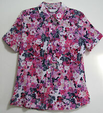 Allison Daley Sz 8 Crinkle Pink Purple Magenta Button S/S Poly Shirt Top Blouse