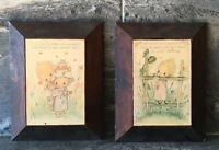 Artist BETSY CLARK Wood Hanging Wall Art Plaques 2PC SET VINTAGE RETRO CUTE 60s