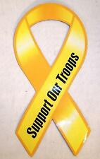 6 BOLD SUPPORT OUR TROOPS RIBBON MAGNET military new magnetic car truck sticker