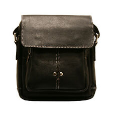 Ashwood - Small Black Connor Messenger/Body Bag in Cow Leather