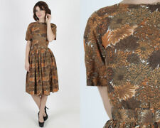 Vintage 50s Autumn Floral Dress Rockabilly Pinup Holiday Cocktail Party Mini S