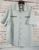 Alexander Julian Men's Size 3X Blue Short Sleeve Button Front Shirt