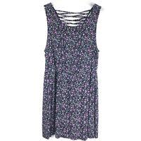 Forever 21 Black Floral Summer Dress Criss Cross Back Womens Size Medium