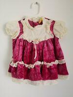 "VTG Toddler Playpal ""NANA'S PET"" Velvet Lace Party Dress 12 MO Made USA"
