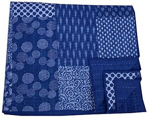 Indian Cotton Jaipur Kantha Rajai Patchwork Blue Bed Spread Blanket Bedding