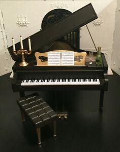 BARBIE KEN DARK SATIN WALNUT OOAK GRAND PIANO FURNITURE 1:6 SCALE