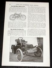 "1903 OLD MAGAZINE ARTICLE, E.N. MILLER ""THE GREELEY GASOLINE CAR"" 8 HP & 30 MPH!"