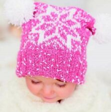 CA005D Knitting Pattern Children's Snowflake T Bag Hat in DK  Age 0 to 7 Years