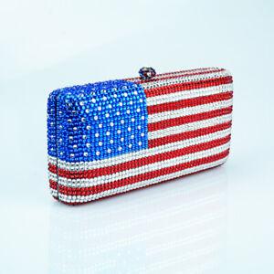 American Flag Pattern Women Crystal Diamond Evening Bag Purse Clutch Handbag