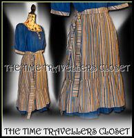 Vintage 70s Blue Orange Striped Folk Prairie Gypsy Midi Dress Festival UK 8 10