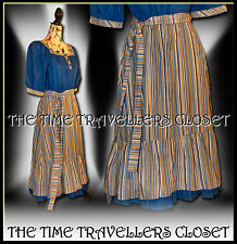Vintage 70s Blue Orange Striped Folk Prairie Gypsy Midi Dress Festival UK 8 10