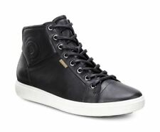 $169 size 5- 5.5 ECCO Soft VII Black Leather Hi Top Sneakers Womens Shoes