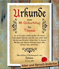Urkunde Geschenkidee 10. Geburtstag Wunschname Namensdruck Bild Gedicht Spruch