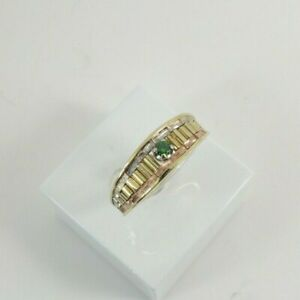 9ct Gold Three Colour Ring Green Stone Hallmarked  Size M 1/2 with Gift Box